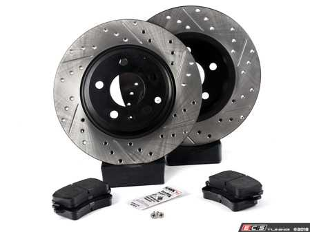 ES#3538291 - 025997ECS0632KT - Performance Rear Brake Service Kit - Featuring ECS V4 Drilled & Slotted rotors and Hawk HPS pads - Assembled By ECS - Audi