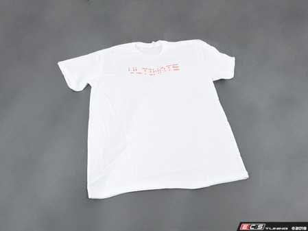 ES#3612369 - ULT-NL-W-S - White Ultimate Design T-Shirt - Small - Featuring amber pixelized ULTIMATE logo on center chest and ECS Tuning logo on center back - ECS - BMW MINI