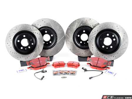 ES#3618349 - dp32086ckt3KT - Performance Front & Rear Brake Service Kit - Featuring StopTech Cross Drilled & Slotted rotors and EBC RedStuff Brake Pads - Assembled By ECS - Audi