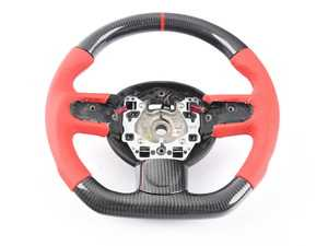 ES#3610453 - MC2-CFS-BR - MINI Cooper Carbon Fiber Flat Bottom Steering Wheel Gen 2 - Red Leather - Hand made carbon fiber inserts on the top and bottom with perforated red leather/red stitching on the sides with black trim inserts - Euro Impulse - MINI