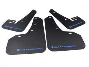ES#3129660 - MF37URBLKBL - Mud Flap Kit - Black With Blue Logo - Durable, polyurethane mud flaps - Rally Armor - Volkswagen