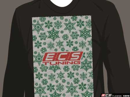 "ES#3633719 - ECS-HLDY-B-S - Black Holiday ""Sweater"" - ECS Design - Small - Long Sleeve T-Shirt with full-color ""stitched"" ECS graphic on full front and ECS Tuning ""stitched"" logo on top back - ECS - Audi BMW Volkswagen Mercedes Benz MINI Porsche"