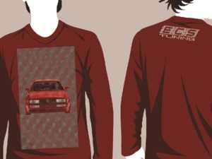 """ES#3625996 - VW-HLDY-R-L - Red Holiday """"Sweater"""" - VW Design - Large - Long Sleeve T-Shirt with full-color """"stitched"""" Corrado graphic on full front and ECS Tuning """"stitched"""" logo on top back - ECS - Audi BMW Volkswagen Mercedes Benz MINI Porsche"""