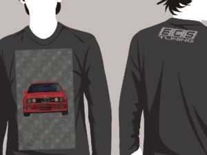 "ES#3625948 - BMW-HLDY-CH-L - Charcoal Holiday ""Sweater"" - BMW Design - Large - Long Sleeve T-Shirt with full-color ""stitched"" E30 M3 graphic on full front and ECS Tuning ""stitched"" logo on top back - ECS - Audi BMW Volkswagen Mercedes Benz MINI Porsche"