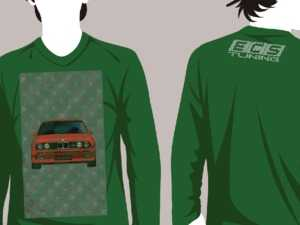 "ES#3625956 - BMW-HLDY-GN-S - Dark Green Holiday ""Sweater"" - BMW Design - Small - (NO LONGER AVAILABLE) - Long Sleeve T-Shirt with full-color ""stitched"" E30 M3 graphic on full front and ECS Tuning ""stitched"" logo on top back - ECS - Audi BMW Volkswagen Mercedes Benz MINI Porsche"