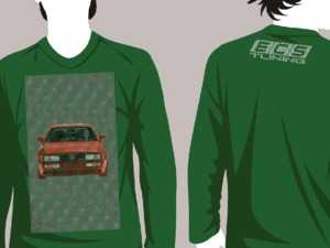 """ES#3625990 - VW-HLDY-GN-L - Dark Green Holiday """"Sweater"""" - VW Design - Large - Long Sleeve T-Shirt with full-color """"stitched"""" Corrado graphic on full front and ECS Tuning """"stitched"""" logo on top back - ECS - Audi BMW Volkswagen Mercedes Benz MINI Porsche"""