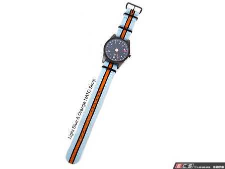 ES#3551896 - AP-RL-STLBON - GuardsRed Design Tach Watch - Straps Light Blue & Orange NATO Strap - Comes with buckles in PVD black. - Rennline - Audi BMW Volkswagen Mercedes Benz MINI Porsche