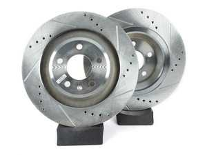 ES#3155009 - EBR1015XPR - Rear Drilled & Slotted Brake Rotors - Pair (330x22) - Upgrade to a slotted / cross-drilled rotor for improved braking - Power Stop - Audi