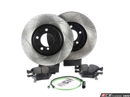 ES#3537172 - 025997ecs093KT3 - Performance Front Brake Service Kit - Featuring ECS V4 slotted rotors and Hawk HPS pads - Assembled By ECS - BMW
