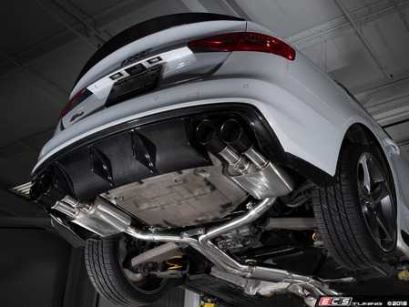 ES#3619910 - 008553ecs03KT - Audi B8/8.5 S4 Valved Cat-Back Exhaust - Resonated With Black Chrome Swivel Tips - ECS evolutionary design and manufacturing, blending with raw emotion, desire and passion, creating a truly unique driving experience - ECS - Audi