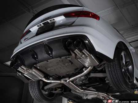 ES#3619911 - 008553ecs04KT - Audi B8/8.5 S4 Valved Cat-Back Exhaust - Non Resonated With Black Chrome Swivel Tips - ECS evolutionary design and manufacturing, blending with raw emotion, desire and passion, creating a truly unique driving experience - ECS - Audi