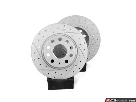 ES#2996461 - 10-698-1131K - ClubSport Rear Cross Drilled & Slotted Brake Rotors - Pair (272x10) - Upgrade the performance, durability and appearance of your rear brakes -  OE# 1K0615601AA - Autotech - Audi Volkswagen