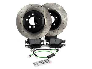 ES#3536755 - 025997ecs087KT4 - Performance Front Brake Service Kit - Featuring ECS V4 cross drilled rotors and Hawk HPS pads - Assembled By ECS - BMW