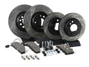 ES#3224032 - 935.33043 - Street Performance Axle Pack Service Kit - Drilled & Slotted - Front & Rear  - Featuring Stoptech Drilled & Slotted rotors and Stoptech Street pads - StopTech - Audi