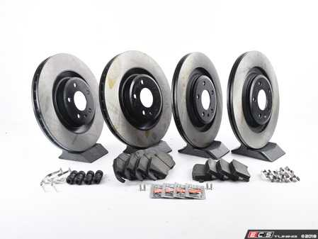ES#3184311 - 8K0698301MKT15 - Front & Rear Economy Brake Service Kit - Featuring OP Parts rotors and Posi Quiet Semi-Metallic pads - Assembled By ECS - Audi