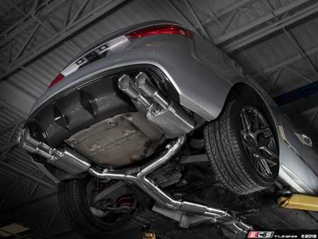 "ES#3647490 - 008553ecs01KT2 - Audi B8/8.5 S5 Valved Cat-Back Exhaust - Resonated With 4"" Chrome Swivel Tips - ECS evolutionary design and manufacturing, blending with raw emotion, desire and passion, creating a truly unique driving experience - ECS - Audi"