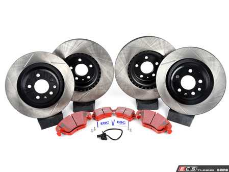 ES#3537759 - 025997ECS0628KT - Performance Front & Rear Brake Service Kit - Featuring ECS V4 Slotted rotors and EBC RedStuff pads - Assembled By ECS - Audi