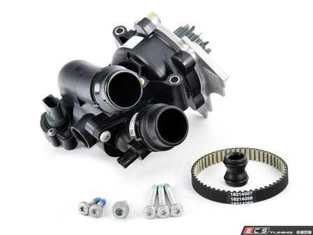 ES#3552837 - 06J121026NKT - Water Pump Kit - Includes a new water pump, belt, thermostat/housing, union piece & hardware - Assembled By ECS - Audi Volkswagen