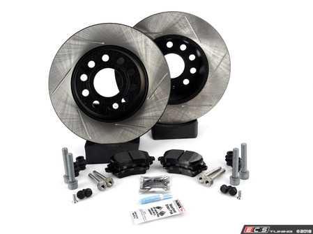 ES#3536938 - 025997ECS0371KT - Performance Rear Brake Service Kit (282x12) - Includes ECS V4 slotted rotors and Hawk HPS pads. - Assembled By ECS - Volkswagen