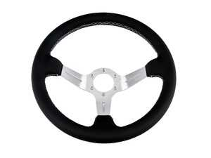 ES#3603876 - ChiSL - Chicane Silver Series Steering Wheel - Genuine Leather w/ White Stitching - Upgrade your interior styling with a universal, performance styled steering wheel from Renown! Features a 350mm diameter and a 70mm depth. - Renown - Audi BMW Volkswagen Mercedes Benz MINI Porsche