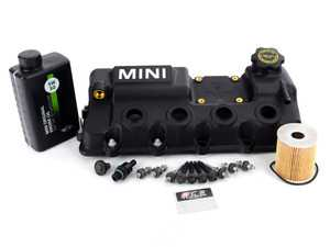 ES#3171100 - 11128658461KT1 - Valve Cover With MINI Label Full Kit - Includes cover, install hardware, vent valve, Oil service kit, and coil pack hardware - Genuine MINI - MINI