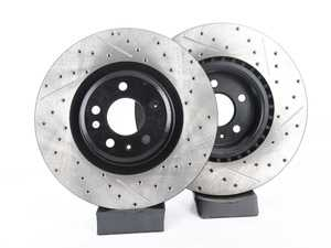 ES#3537748 - 025997ECS0617KT -  Front V4 Cross Drilled & Slotted Brake Rotors - Pair (345x30) - Precision manufactured and featuring an electrostatic rust-inhibiting coating - ECS - Audi
