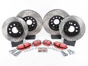 ES#3536715 - 025997ECS0230KT - Front & Rear Brake service kit (312x25/272x10) - Featuring ECS V4 drilled and slotted rotors and EBC RedStuff pads - Assembled By ECS - Volkswagen