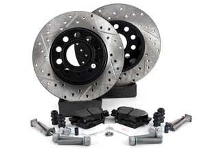 ES#3536834 - 025997ECS0293KT - Performance Rear Brake Service Kit (272x10) - Featuring ECS V4 cross drilled and slotted rotors and Hawk HPS pads - Assembled By ECS - Volkswagen