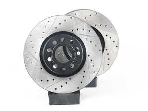 ES#3536704 - 025997ECS0219KT - Performance Front Brake Service Kit - Featuring ECS V4 Drilled & Slotted rotors and Hawk HPS pads - Assembled By ECS - Audi