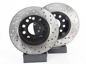ES#3536839 - 025997ECS0298KT - Performance Rear Brake Service Kit - Featuring ECS V4 Slotted rotors and Hawk HPS pads - Assembled By ECS - Audi