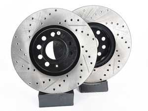 ES#3536727 - 025997ECS0240KT - Performance Front Brake Service Kit - Featuring ECS V4 Slotted rotors and Hawk HPS pads - Assembled By ECS - Audi
