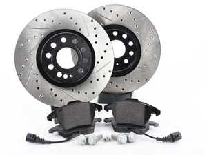 ES#3536730 - 025997ECS0243KT - Performance Front Brake Service Kit (312x25) - Featuring ECS V4 slotted rotors and Hawk HPS pads. - Assembled By ECS - Volkswagen