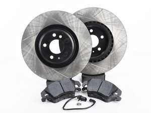 ES#3537757 - 025997ECS0626KT - Performance Front Brake Service Kit - Featuring ECS V4 Slotted rotors and Hawk HPS pads - Assembled By ECS - Audi