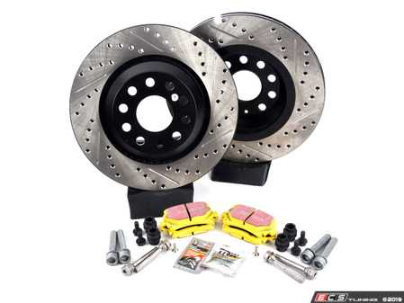 ES#3536987 - 025997ECS0388KT - Rear Cross Drilled & Slotted Brake Rotors And Pads Set - Featuring ECS V4 drilled and slotted rotors and EBC YellowStuff pads - Assembled By ECS - Volkswagen