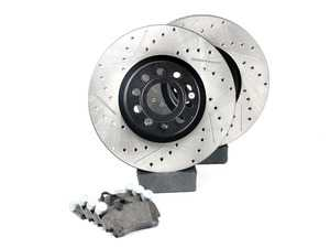 ES#3536710 - 025997ECS0225KT - Front Big Brake Kit - ECS Cross Drilled & Slotted V4 Rotors (312x25) - Upgrade from 288mm to 312mm rotors from the Jetta GLI. Reuses factory calipers, pads, and hardware! - ECS - Volkswagen