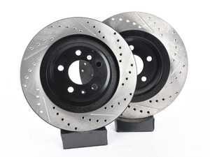 ES#3538300 - 025997ECS0638KT - Performance Rear Brake Service Kit - Featuring ECS V4 Drilled & Slotted rotors and Hawk HPS pads - Assembled By ECS - Audi