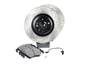 ES#3537751 - 025997ECS0620KT - Performance Front Brake Service Kit - Featuring ECS V4 Drilled & Slotted rotors and Hawk HPS pads - Assembled By ECS - Audi