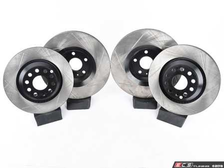 ES#3536995 - 025997ECS0395KT - Front And Rear Slotted V4 Brake Rotor Kit (340x30/310x22) - Precision manufactured and featuring an electrostatic rust-inhibiting coating - Assembled By ECS - Volkswagen