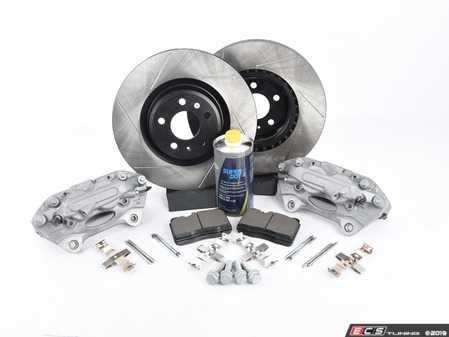 ES#3537755 - 025997ECS0624KT -   Front Big Brake Kit - Stage 2 - Slotted Rotors (345x30) - Upgrade your brake system to the 4-piston Brembo Q5 calipers. Features ECS V4 brake rotors. - ECS - Audi