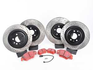 ES#3537753 - 025997ECS0622KT - Performance Front & Rear Brake Service Kit - Featuring ECS V4 Drilled & Slotted rotors and EBC RedStuff pads - Assembled By ECS - Audi