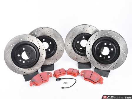 ES#3537753 - 025997ECS0622KT - Performance Front & Rear Brake Service Kit - Featuring ECS V4 Drilled & Slotted rotors and EBC RedStuff pads - Assembled By ECS - Audi
