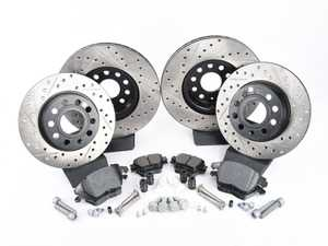 ES#3536720 - 025997ECS0234KT - Performance Front & Rear Brake Service Kit (312x25/272x10) - Featuring ECS V4 cross-drilled and slotted rotors and Hawk HPS pads - Assembled By ECS - Volkswagen