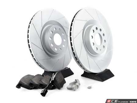 ES#3551276 - 1K0615301MTKT - performance front brake Service Kit (345x30) - Featuring ECS GEOMET slotted rotors and Hawk HPS performance pads - Assembled By ECS - Volkswagen