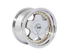 "ES#3659029 - esm-009r-1KT - 16"" Style 009R Wheels - Set Of Four - 16""x8"" ET20 56.1CB 4x100 Platinum VC Chrome With Gold Rivets - ESM Wheels - MINI"