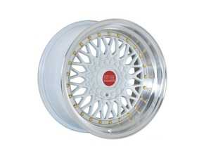 "ES#3659441 - esm-002r-6KT1 - 15"" Style 002R Wheels - Set Of Four - 15""x7"" ET15 56.1CB 4x100 White/Polished Lip With Gold Rivets - ESM Wheels - MINI"