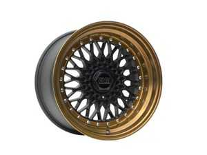 "ES#3659423 - esm-002r-79KT - 17"" Style 002R Wheels - Set Of Four - 17""x8.5"" ET20 56.1CB 4x100 Matte Black/Gold Barrel With silver Rivets - ESM Wheels - MINI"