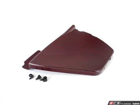 ES#3638701 - 023149ECS02-02KT - B8 S4 Carbon Fiber Left Side Engine Bay Cover - Red Carbon/Kevlar - Cover up unsightly under hood components with red carbon fiber and kevlar style! - ECS - Audi