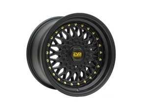 "ES#3659955 - esm-002r-19KT - 15"" Style 002R Wheels - Set Of Four - 15""x8"" ET15 56.1CB 4x100 Matte Black/Black Lip With Gold Rivets - ESM Wheels - MINI"
