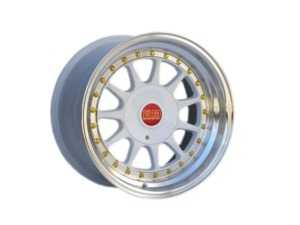 "ES#3659980 - esm-003r-5KT - 16"" Style 003R Wheels - Set Of Four - 16""x8"" ET20 56.1CB 4x100 White/Polished Lip With Gold Rivets - ESM Wheels - MINI"