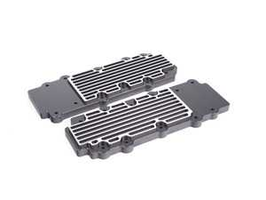 ES#2840173 - M15BLKBR - 993 Turbo Billet Aluminum Lower Valve Cover Pair - Black/Brushed - Direct bolt on replacement for your flimsy leaking factory covers - Machined to accept the reusable OEM gaskets - Rennline - Porsche